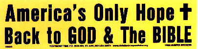 America's Only Hope Back To God & The Bible